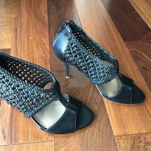 Steven Black Cagged Heeled Sandals